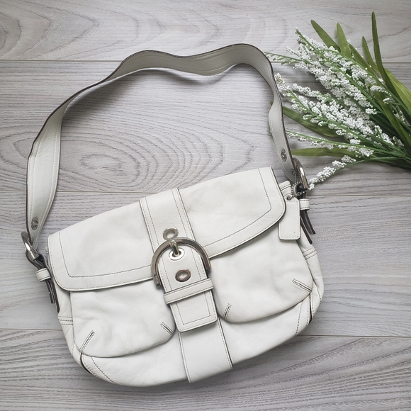 Coach Handbags - COACH white leather shoulder purse